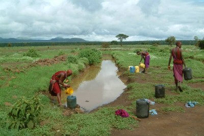 Masai fetching contaminated water